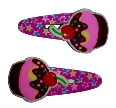 Hårclips rosa cupcakes 2 pack